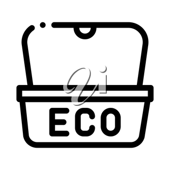 Eco Material Package For Street Food Vector Icon Thin Line. Carton Material Open And Closed Packaging Concept Linear Pictogram. Parcel, Box Shipping Equipment Black And White Contour Illustration