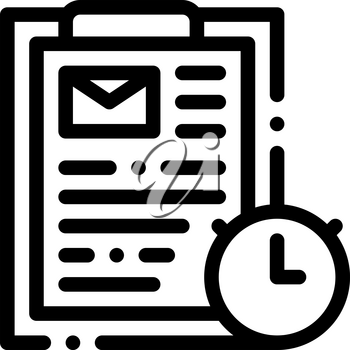 Package Time Agreement Postal Transportation Company Icon Vector Thin Line. Contour Illustration
