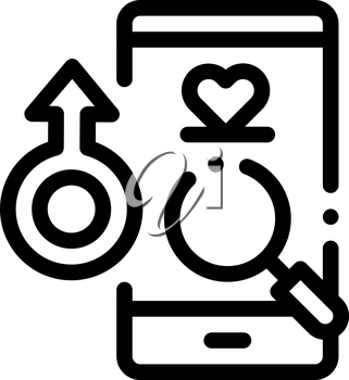 Male Love Search Icon Vector. Outline Male Love Search Sign. Isolated Contour Symbol Illustration