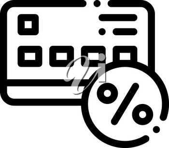 Credit Percentage Card Icon Vector. Outline Credit Percentage Card Sign. Isolated Contour Symbol Illustration