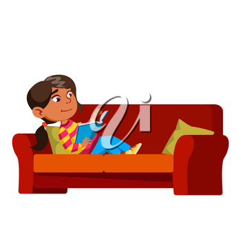 Girl Kid Laying On Couch And Reading Book Vector. Hispanic Preteen Lady Child Lay On Sofa And Read Educational Book. Character Infant Enjoying With Literature Flat Cartoon Illustration