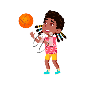Girl Child Playing Basketball Sport Game Vector. African Happy Sportsgirl Lady Kid Play With Basketball Ball. Character Competition, Active Sportive Lifestyle Flat Cartoon Illustration