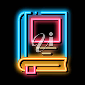 bookmarked book neon light sign vector. Glowing bright icon bookmarked book sign. transparent symbol illustration