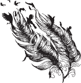 Flying birds and feather silhouette, tattoo design in black and white.