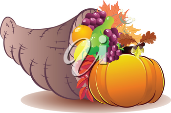 Traditional Thanksgiving horn of plenty, cornucopia cartoon illustration.
