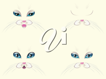 Cute cartoon white cat face with stylized blue eyes.