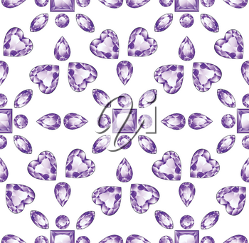 Precious violet gemstones, purple amethyst jewel stones on white background.