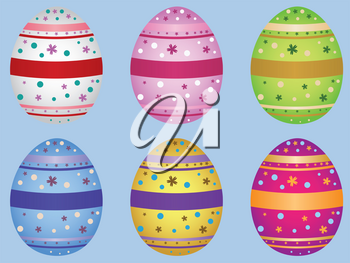 Colorful decorative Easter eggs on light blue background.