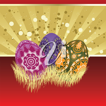 Easter card of gold and red color with colorful eggs.