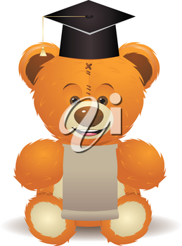 Cute teddy bear toy in graduation hat with paper sheet.