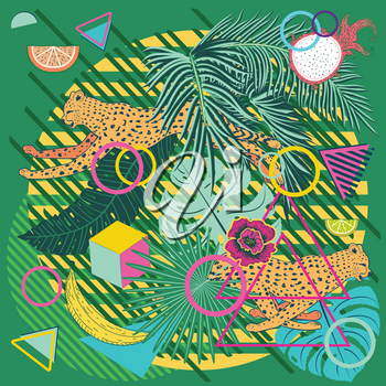 Running cheetah with tropical fruits and leaves design.