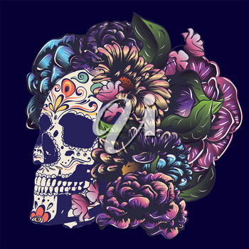 Day of the dead floral sugar skull with flowers colorful design.