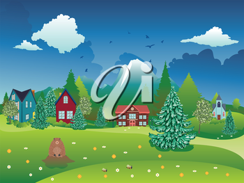 Rural spring landscape with houses, mountain and cute groundhog illustration.