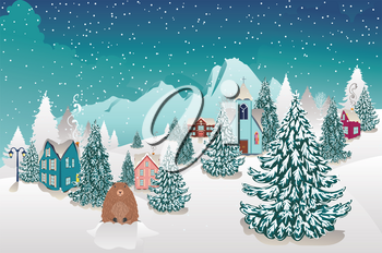 Rural winter landscape with houses, mountain and cute groundhog illustration.