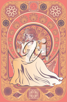 Decorative floral frame and girl with scales in retro style, libra zodiac art nouveau inspired illustration.