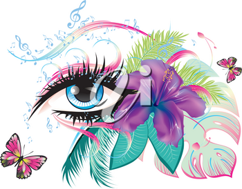 Decorative eye with long eyelashes, flowers, musical notes and butterflies.