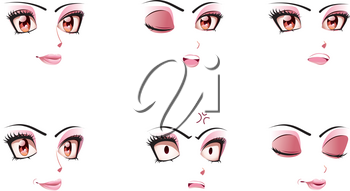 Different cartoon female facial expression, manga style.