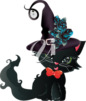 Cute black kitten with green eyes in witch hat with blue roses.
