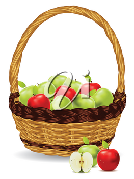 Fresh green and red apples in a basket on white background.