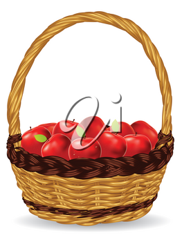 Fresh red apples in a basket on white background.