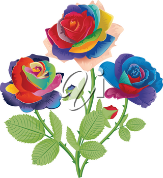 Vintage flower ornament with rainbow roses, floral composition.