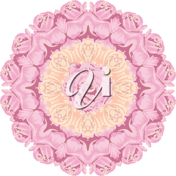 Romantic decorative flower ornament with roses, floral illustration.