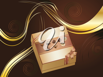 Decorative brown background with floral elements and chocolate box.