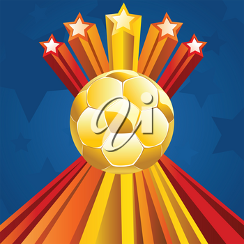 Soccer of football ball on abstract background with 3d stars.