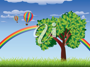 Green grass field with a tree, rainbow and hot air balloons in the sky.