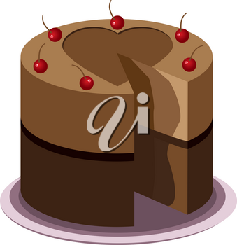 Tasty chocolate cake with cherries on top on a plate