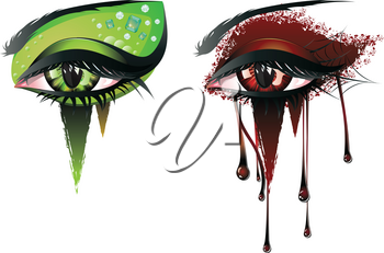 Abstract colorful illustration of vampire eye makeup in carnival style.