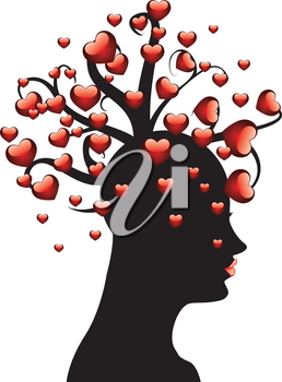 Abstract tree with red hearts on woman's head on white background.