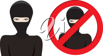 Man in a black mask, thief, terrorist or special force soldier on white background.