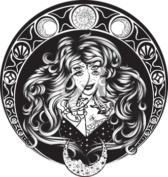 Tattooed smiling woman with four eyes, art nouveau style.