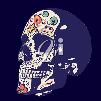Day of the dead floral sugar skull colorful design.