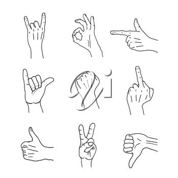 Set of black outline common cartoon hand gestures, signs isolated on white