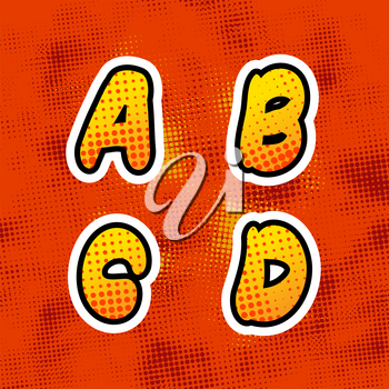 Bright colorful retro comics font with halftone pattern, vintage A B C D latin letters on red background