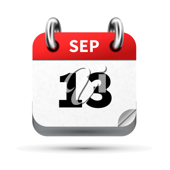 Bright realistic icon of calendar with 13 september date on white