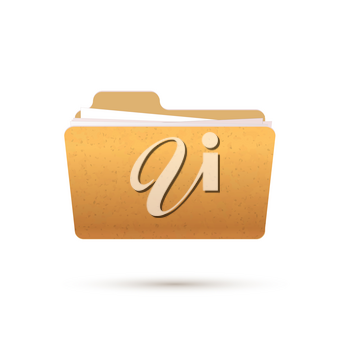 Bright yellow realistic open folder with documents, icon on white