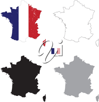 France country black silhouette and with flag on background, isolated on white