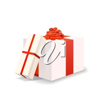 Two bright white gift boxes with red tapes and bows isolated on white