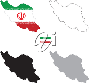 Iran country black silhouette and with flag on background, isolated on white