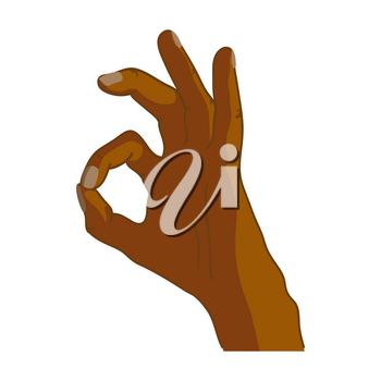 Cartoon black hand in OK gesture isolated on white