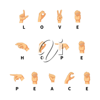 Love, hope and peace words on hand language isolated on white