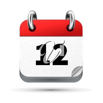 Bright realistic icon of calendar with 12 date on white