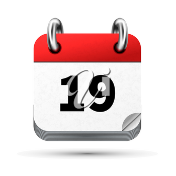 Bright realistic icon of calendar with 19th date on white