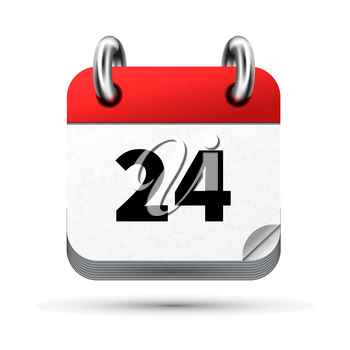 Bright realistic icon of calendar with 24th date on white