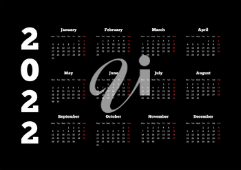Calendar on 2022 year with week starting from monday, A4 sheet on black