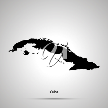 Cuba country map, simple black silhouette