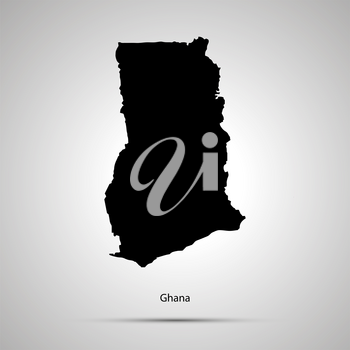 Ghana country map, simple black silhouette